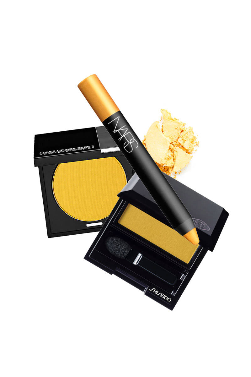 Nars Soft Touch Shadow Pencil in Corcovado; Shiseido Luminizing Satin Eye Color in Solaris; Make Up For Ever Eyeshadow in Matte Brilliant Yellow.
