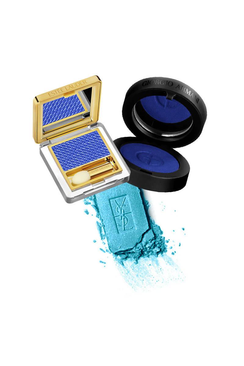Estée Lauder Pure Color Gelée Powder EyeShadow in Fire Sapphire; Giorgio Armani Maestro Eye Shadow in 21; YSL Ombre Solo Smoothing Effect Eyeshadow in Topaz Blue.
