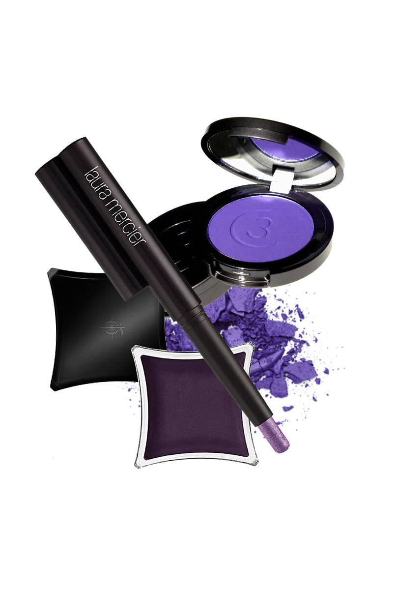 Laura Mercier Caviar Stick Eye Color in Orchid;  Three Custom Color Eye Shadow in Voltage; Illamasqua Cream Pigment in Matte Grape.