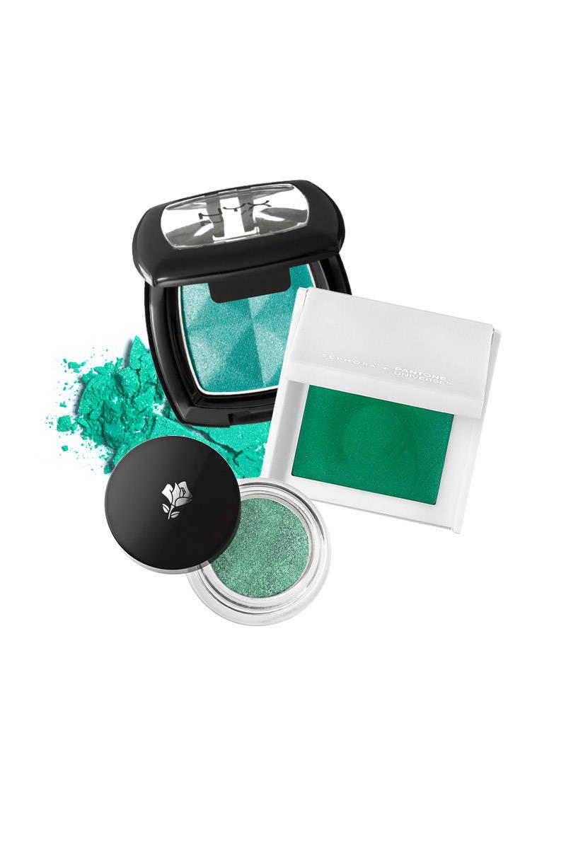 NYX Single Eye Shadow in Lagoon Sparkle; Sephora Color Code Prismatic Shadow Block in Emerald; Lancôme Color Design Infinité 24HR in Enduring Vert.