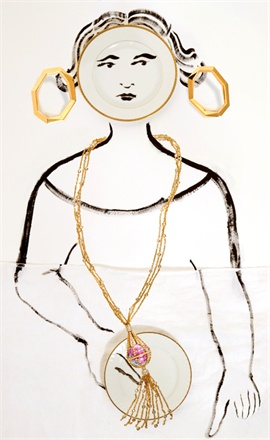 Yellow gold earrings, octium. Pink gold montgolfière necklace with diamonds and hand painted porcelain, Meissen Joaillerie®. Set designer, Silvia Panceri. Paintings by the artist Sofia Cacciapaglia.