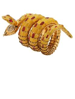 THE ART OF BULGARI: DOLCE VITA AND BEYOND Snake bracelet-watch, ca. 1967 Gold with yellow and red enamel and rubies