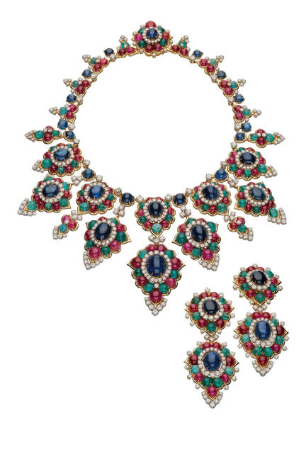 THE ART OF BULGARI: DOLCE VITA AND BEYOND Necklace and pendant earrings, 1967  Gold with sapphires, emeralds, rubies, and diamonds