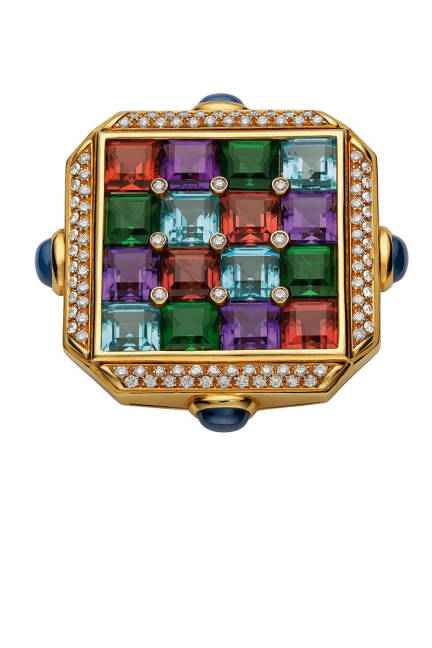 THE ART OF BULGARI: DOLCE VITA AND BEYOND Carré brooch, 1987  Gold with aquamarines, amethysts, red and green tourmalines, sapphires, and diamonds