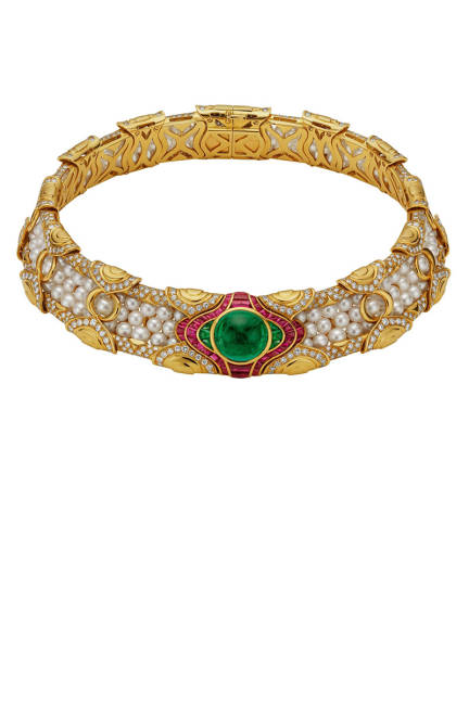 THE ART OF BULGARI: DOLCE VITA AND BEYOND Choker, 1988  Gold with cultured pearls, emeralds, rubies, and diamonds