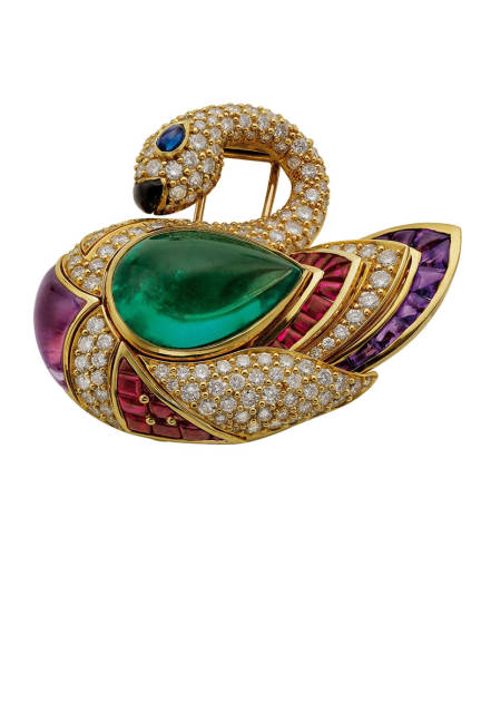 THE ART OF BULGARI: DOLCE VITA AND BEYOND Swan brooch, 1990  Gold with emerald, sapphire, onyx, amethysts, rubies, and diamonds