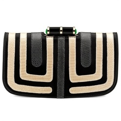 Bulgari - Lipstick cocktail clutch in black calfskin, lizard with glass and onyx lock.