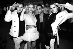 Peter Brant, Rosie Huntington-Whiteley, Olivier Rousteing, the artistic director at Balmain and Harry Brant