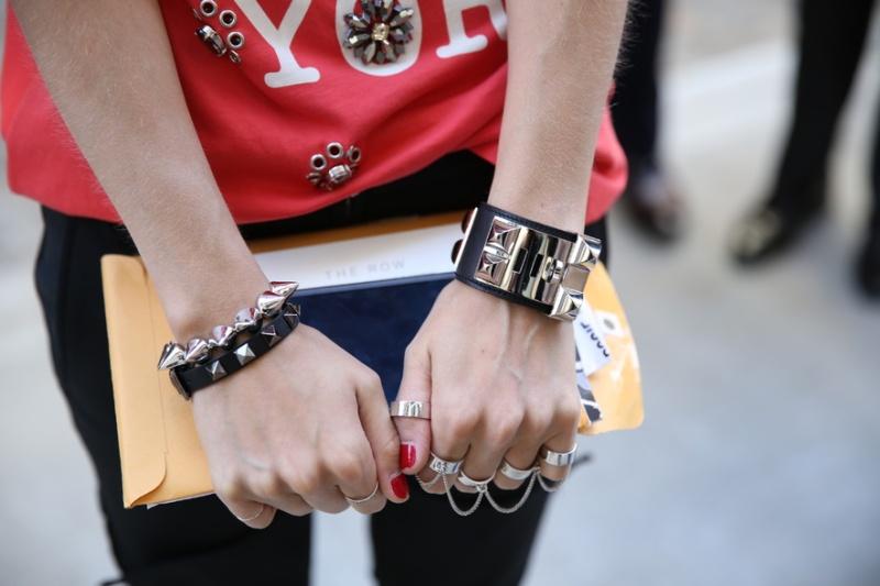 Eddie Borgo jewelry, Hermès dog collar cuff and 3.1 Phillip Lim t-shirt