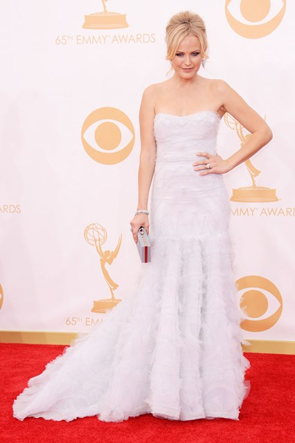 Malin Akerman chose a gown from the Marchesa pre-spring:summer 2014 collection.