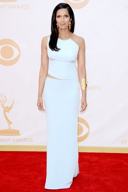 Padma Lakshmi wore a gown by Kaufman Franco with a Robert Lee Morris cuff.