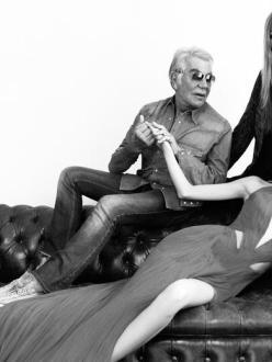 Model Shu Pei with Designer Roberto Cavalli and Wife Eva Cavalli-Elle China October 2013