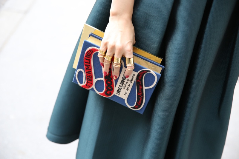 Olympia Le-Tan minaudière and Balenciaga rings