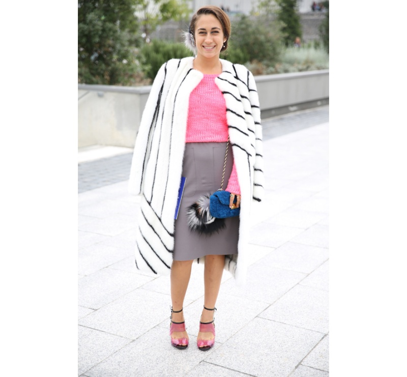 ewelry designer Delfina Delettrez Fendi in a Fendi look, with earrings and sandals from Fendi Spring/Summer 2014