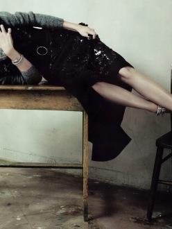 Mariacarla Boscono for Vogue China November 2013-Neo Noir
