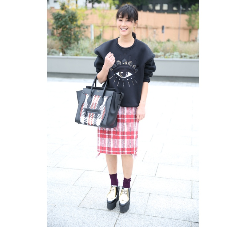 Kenzo sweater, skirt and shoes, with a Céline bag
