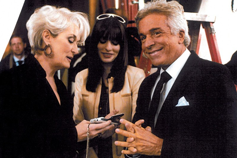 "Giancarlo Giammetti on the set of ""The Devil Wears Prada"" with Meryl Streep and Anne Hathaway in 2005."