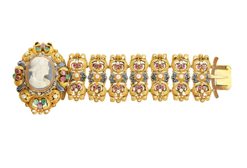 Mellerio dits Meller gold cameo bracelet with rubies, emeralds, pearls and enamel work, from the mid-1800s.