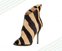 Paul Andrew zebra-print calf hair peep-toe bootie, $1,695