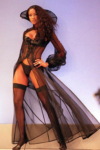 Naomi Campbell on the catwalk at the Victoria's Secret show in 1997.