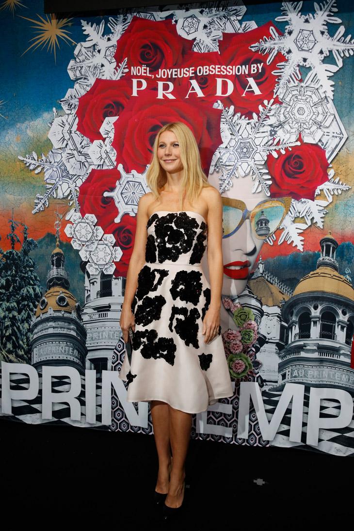 Gwynet Paltrow Unveils The Prada Christmas Window Display at Printemps