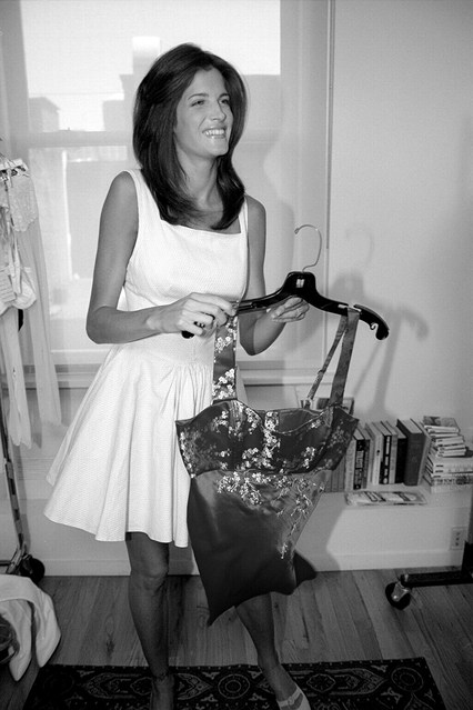 Stephanie Seymour at a fitting before the 1995 Victoria's Secret show, which was a small affair.