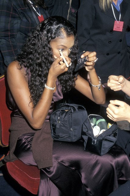 Naomi Campbell getting ready backstage at the Victoria's Secret fashion show, at the Plaza Hotel in New York, in 1996.