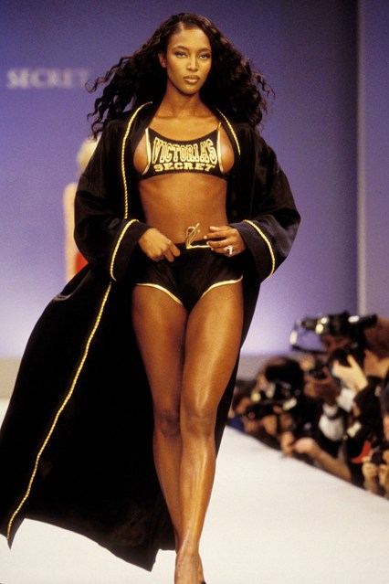 Naomi Campbell looks ready for a fight (in a good way) on the 1997 catwalk.
