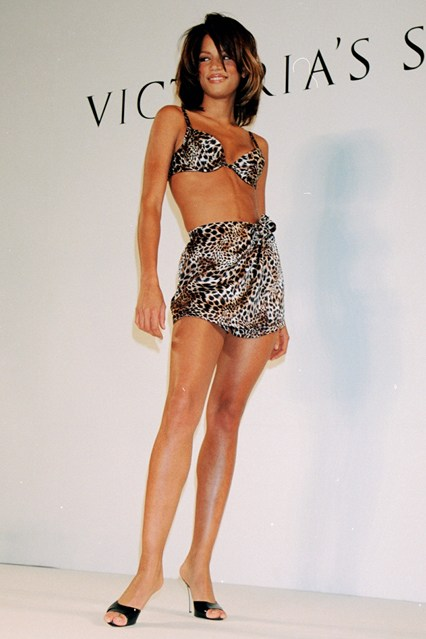 Veronica Webb in a demure creation at the 1995 Victoria's Secret show.