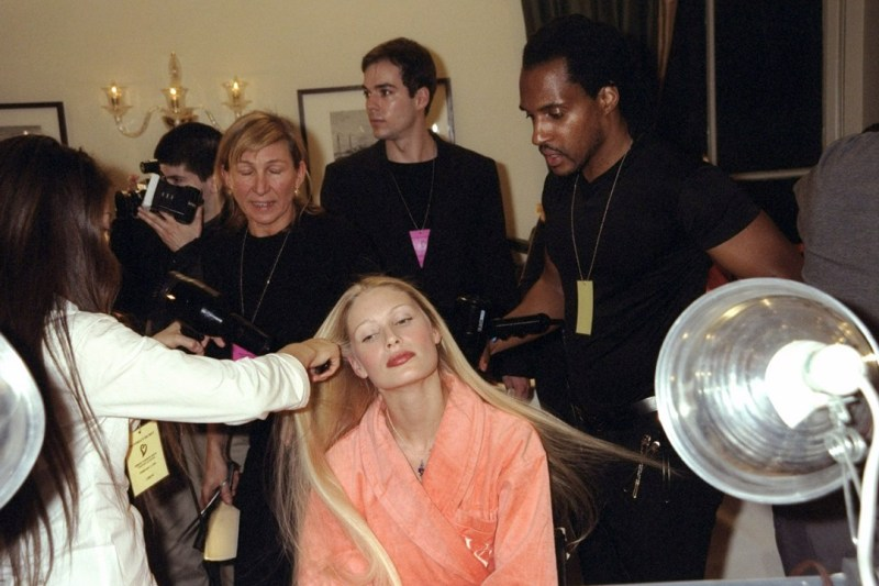 Kirsty Hume backstage before the 1999 Victoria's Secret fashion show.