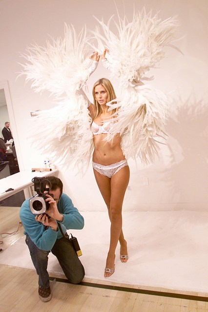 Heidi Klum trying her wings ahead of the 2001 Victoria's Secret show.