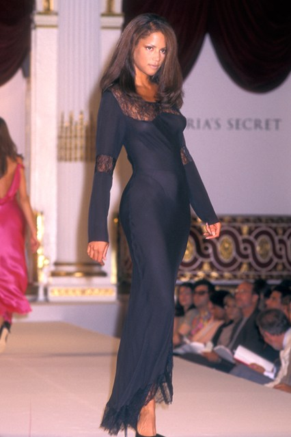 Veronica Webb takes to the catwalk for the first annual Victoria's show on August 1, 1995, at The Plaza Hotel in New York.