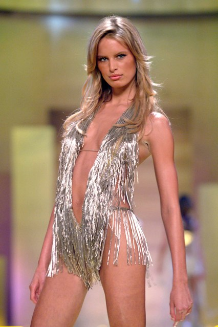 Karolina Kurkova sports some silver fringing at the 2001 show.