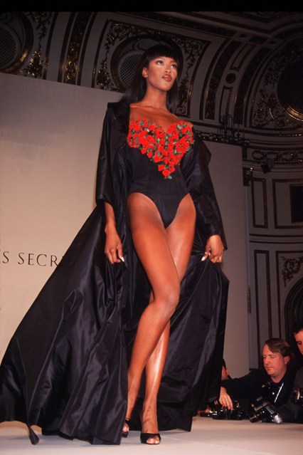 Naomi Campbell on the catwalk for the 1996 Victoria's Secret show.
