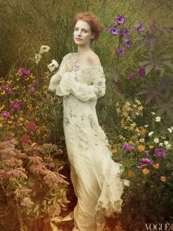 Jessica Chastain by Annie Leibovitz for Vogue US December 2013