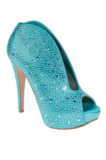 GINA studded turquoise heel