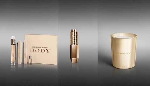 from L to R: BURBERRY BODY FRAGRANCE GIFT SET, £90.00 BURBERRY BODY EAU DE PARFUM GOLD PURSE SPRAY, £50.00 BURBERRY BODY GOLD CANDLE, £39.00