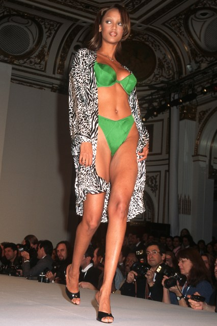Tyra Banks on the catwalk for the 1996 Victoria's Secret show.
