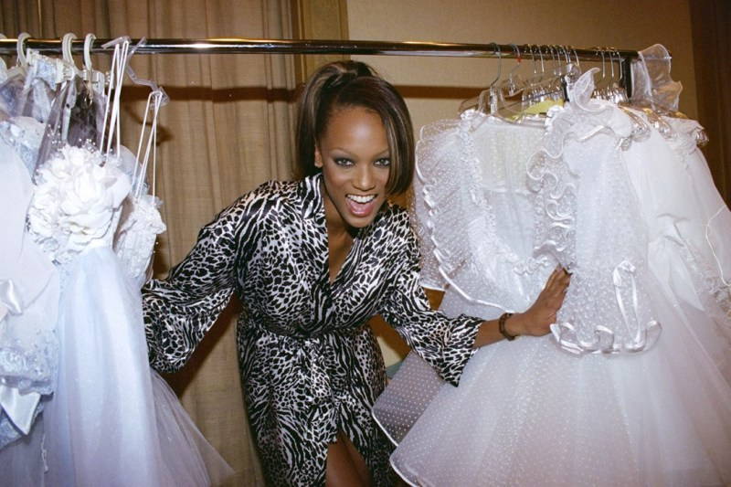 Tyra Banks getting fitted for the Victoria's Secret fashion show at the Grand Ballroom of the Plaza Hotel in 1996.