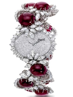 Piaget 1978 - Wristwatch, unique piece, in white gold, diamonds and rubies.