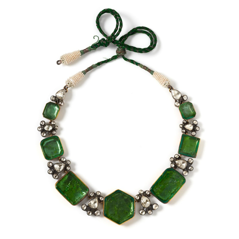 Emerald, diamond and pearl necklace, around 1850 - 1900 ® Laziz