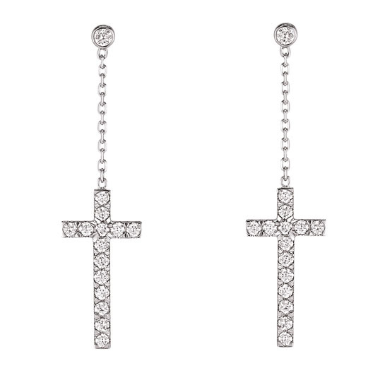 Messika  Cross earrings in 18 carat white gold and diamonds, €1,670