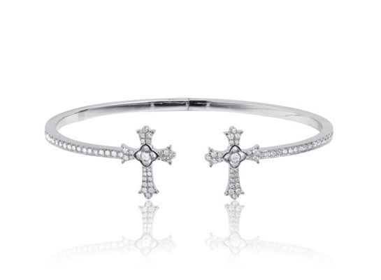 Elise Dray  Twin Cross bracelet in white gold and diamonds, price on request