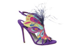 Brian Atwood's suede sandal with ostrich feathers and metal detail