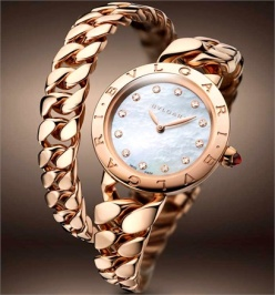 Bulgari BVLGARI Catene - Pink gold, mother-of-pearl dial and diamond hour markers.