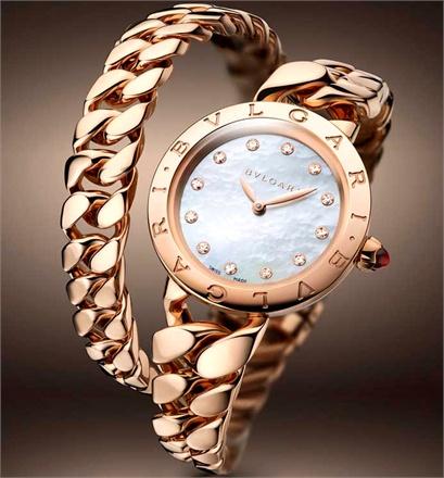 Bulgari BVLGARI Catene - Pink gold, mother-of-pearl dial and diamond hour markers.