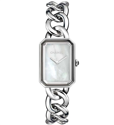 Chanel Première - Case and bracelet in steel. Dial in mother-of-pearl with no hour markers.