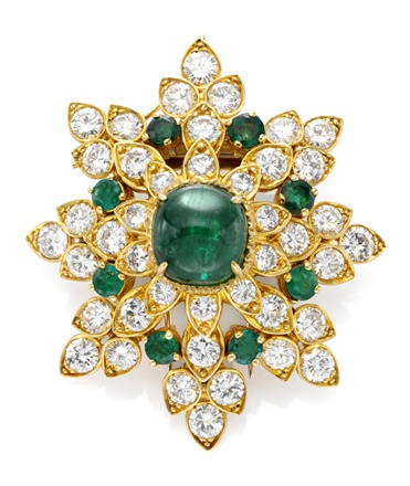 Clip émeraudes diamants, 1971