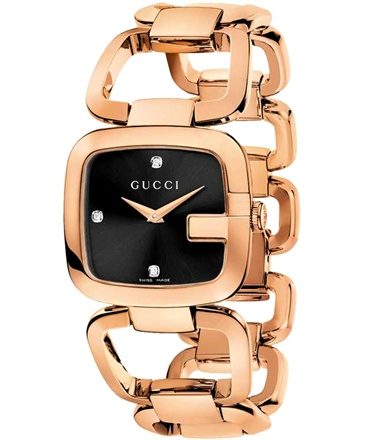 Gucci G Gucci - Quartz movement, case and bracelet in steel treated with PVD rose gold.