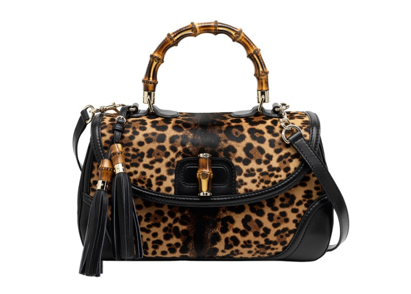 Gucci  New Bamboo leopard print foal skin bag with bamboo handle, €2840